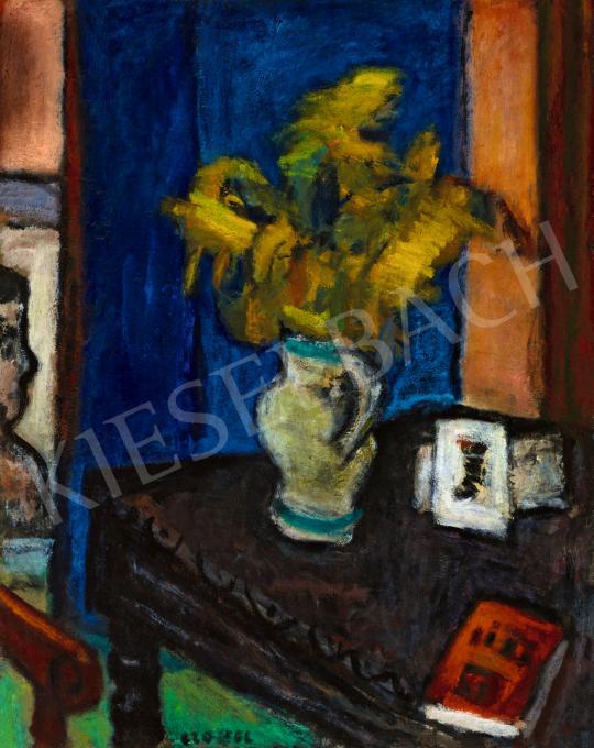 Czóbel Béla - Sárga virágok enteriőrben, 1920-as évek vége | 57. Téli Aukció aukció / 119 tétel