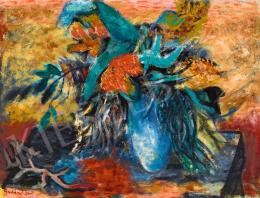 Gadányi Jenő - Virágcsendélet kék vázával