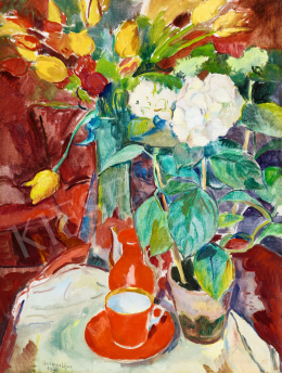 Herman, Lipót - Still-Life with Tulips, White Hydrangea and Red Cup, 1930