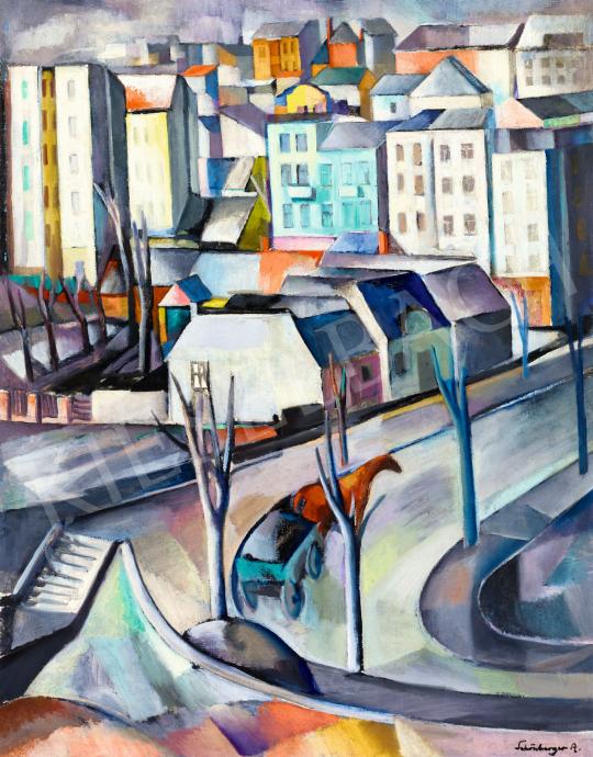 Schönberger Armand - Nagyvárosi hangulat lovaskocsival (Budapest) | 57. Téli Aukció aukció / 180 tétel