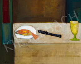 Bálint Endre - Halas csendélet fekete késsel, 1953
