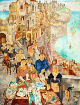 Szabó Vladimir - Olasz fantáziaváros (Halászfalu), 1934