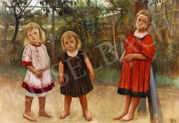 Körösfői Kriesch Aladár - Három gyerek a dombi lugasban, 1905