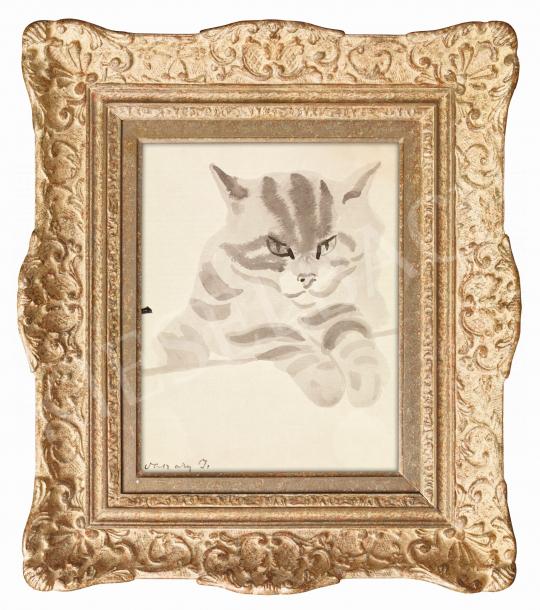 Vaszary János - Figyellek (Macska) | 57. Téli Aukció aukció / 1 tétel