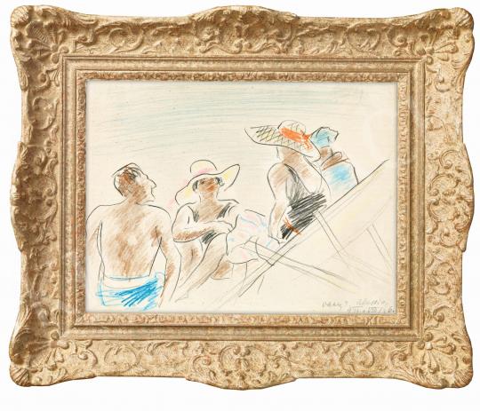 Vaszary János - Olasz tengerparton (Alassioi strandon), 1922 | 57. Téli Aukció aukció / 2 tétel