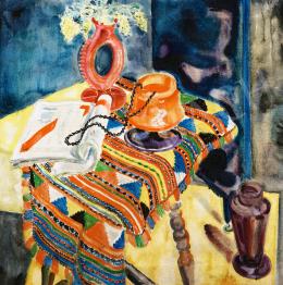 Biai-Föglein István - Műtermi csendélet narancssárga-lila art deco vázával (Loetz vázával), 1928
