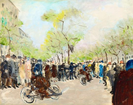 Medgyes László - Párizsi motorverseny (Boulevard), 1920 körül | 57. Téli Aukció aukció / 116 tétel