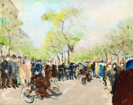 Medgyes, László (École M.) - Motorbike Race in Paris (Boulevard), c. 1920