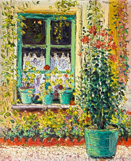Signed as Phidias, 1922 - Window with Flowers, 1922