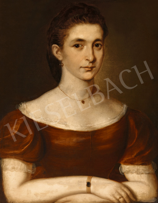 Ismeretlen magyar festő 1860 körül - Női arckép | 57. Téli Aukció aukció / 44 tétel