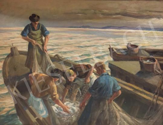 Eladó Udvary Pál - Halászok festménye