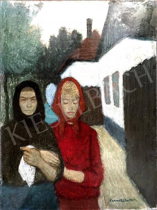 Eladó Czene Béla - Vörös kendős hölgy festménye