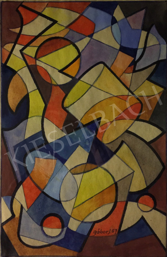 For sale  Gábor, Jenő - Geometric Composition, 1967 's painting