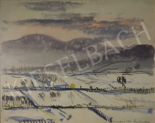 For sale Cserepes, István - Snowy Landscape in front of the Hillside (Szentendre), 1941 's painting