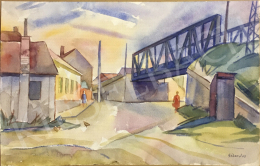 Gábor, Jenő - Landscape with an Iron Bridge, 1963