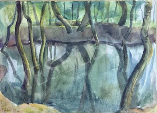 Eladó  Gábor Jenő - Vízben tükröződő fák festménye