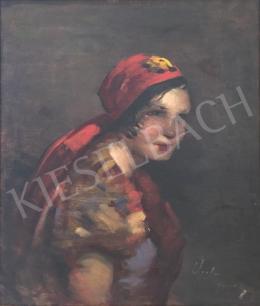 Vígh Bertalan - Fejkendős hölgy