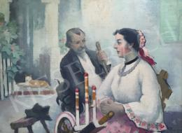 Pécsi-Pilch, Dezső - Family Scene in the Yard