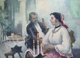 Pécsi-Pilch Dezső - Családi jelenet az udvaron