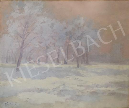 Eladó Kézdi-Kovács László - Derengő fények a téli erdőben (Csend) festménye