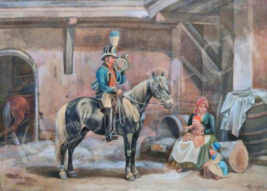 Eladó Ismeretlen művész - Huszár kürttel festménye