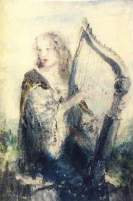 Náray Aurél - Lány hárfával
