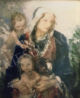 Náray Aurél - Mária a gyermekével és angyallal