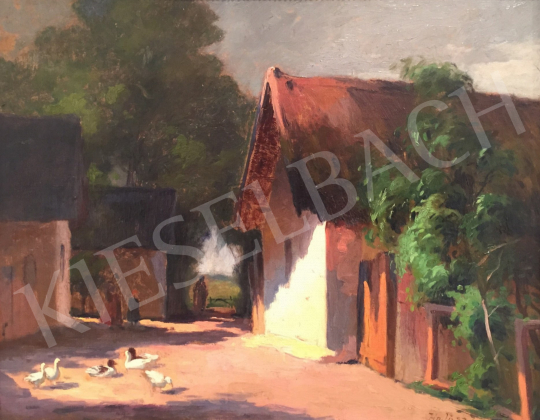 For sale  Unknown Hungarian Painter with a sign of Halász J. - Village 's painting