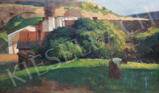 Eladó Földes Imre - Nő kertben festménye