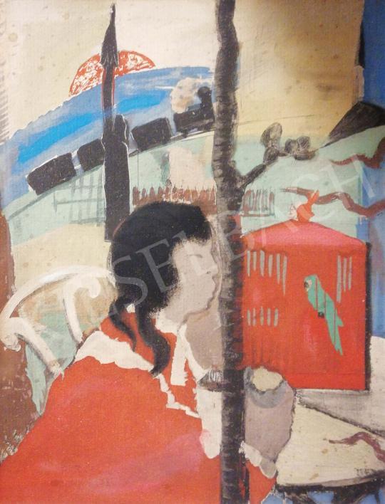 Farkas István - Nő papagájjal festménye