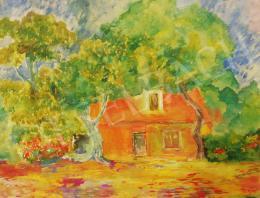 Ismeretlen festő Major jelzéssel - Rálátásos tájkép házzal és fákkal