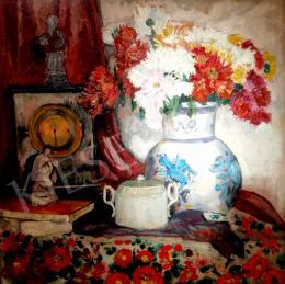 Ismeretlen festő - Asztali csendélet kandalló órával és bonbonierrel