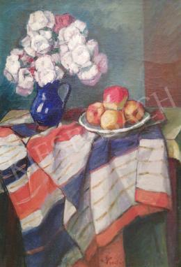 Kádár Géza - Asztali csendélet színes terítővel és almával