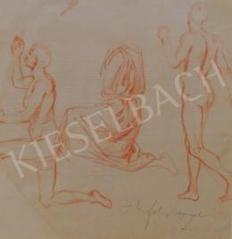 Lotz Károly - Akt tanulmány - Freskóterv a Mátyás-templomhoz (Két oldalas)