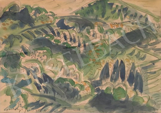 Gadányi Jenő - Zöld lombok, 3 db Gadányi grafika együtt festménye