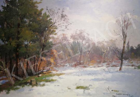 Halasi Horváth István - Téli napsütés, 1980 festménye