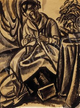 Uitz, Béla - Woman, sewing, 1918/19.