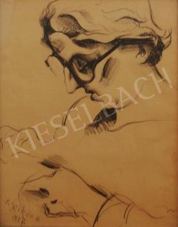 Scheiber Hugó - Hölgy szemüveggel, 1912