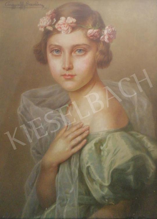 Angyalffy Erzsébet - Kislány virágkoszorúval a hajában festménye