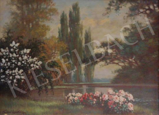 Eladó Székely Mihály - Virágos parkrészlet festménye