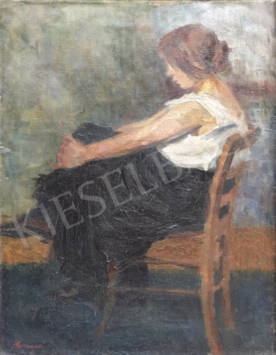 Unknown painter - Sitting Girl in a Armchair painting