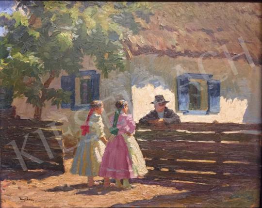 Eladó  Nyilasy Sándor - Beszélgetők kerítésnél festménye
