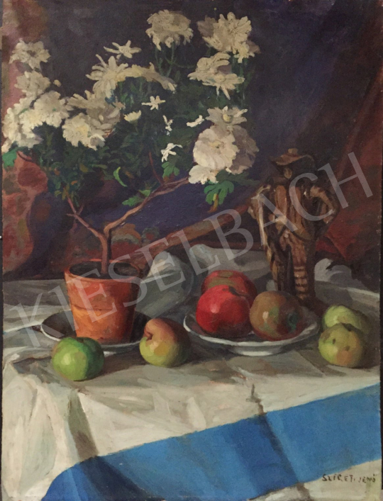 For sale Szigeti, Jenő - Table Still-Life with Fruits and Flowers 's painting