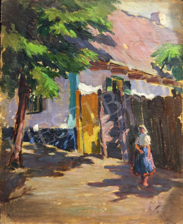 Ismeretlen festő - Utcán sétáló fiatal nő népviseletben