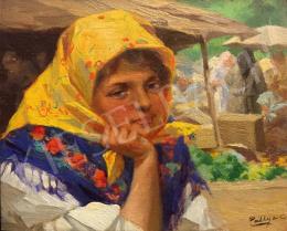 Pállya Celesztin - Menyecske sárga kendővel, piaci forgatag