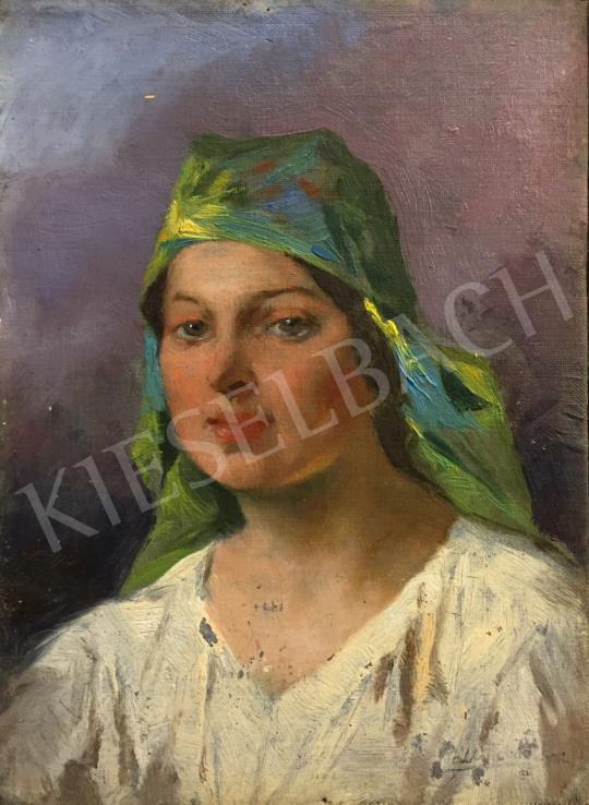 Eladó Pállya Celesztin - Menyecske zöld kendővel festménye