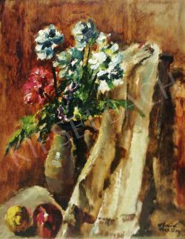 Holló László - Műtermi csendélet almával és virággal