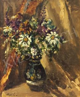 Holló László - Tavaszi virágcsokor népi motívumos vázában, 1967
