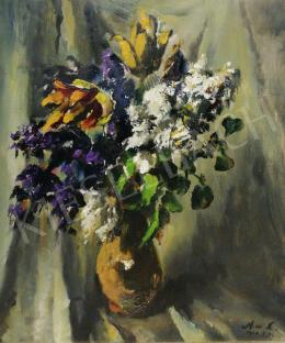 Holló, László - Spring Still-Life with Drapery, 1967