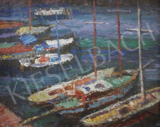 Vén Emil - Csónakok a vízen festménye